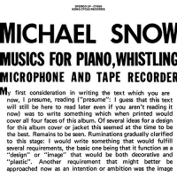 Michael Snow - Musics For Piano Whistling Microphone & Tape